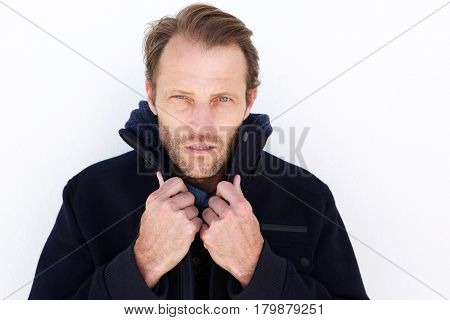Close Up Handsome Man Keeping Warm With Jacket