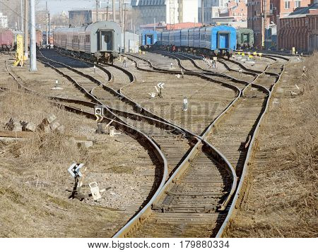 Train depot in townfor repair of locomotives.