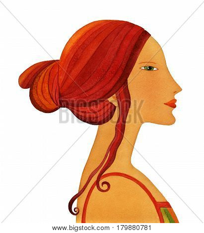 Profile of a young woman with long hair a stylized. Watercolor isolated on white background
