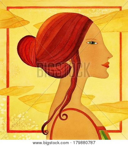 Profile of a young woman with long hair a stylized. Watercolor on a background of stylized clouds background