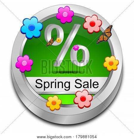 green Spring Sale Button - 3D illustration