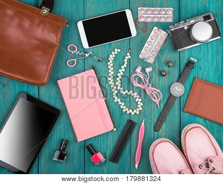 Accessories, Shoes, Tablet Pc, Camera, Bag, Note Pad, Watch, Headphones, Blackboard And Essentials