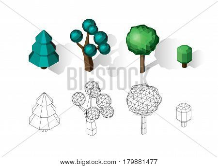 Isometric vector tree set. Landscape constructor kit. Different trees for make design. Low poly spruce, apple, decorative shrub, linden, maple, pine and firtree. Color and black and white wireframe variants.