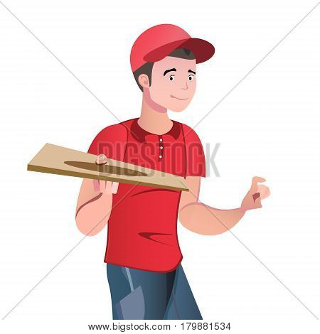 A young man in a red uniform delivers pizza