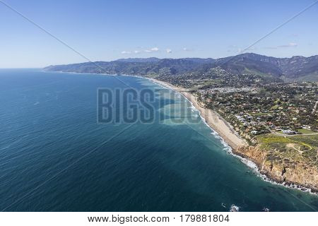 Aerial view of Point Dume, Westward and Zuma Beaches in Malibu, California.