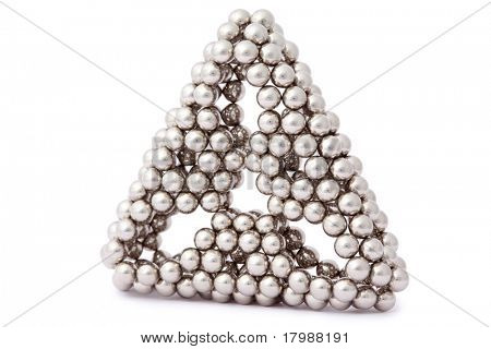 triangle of metal segment assembled from sphere isolated on white