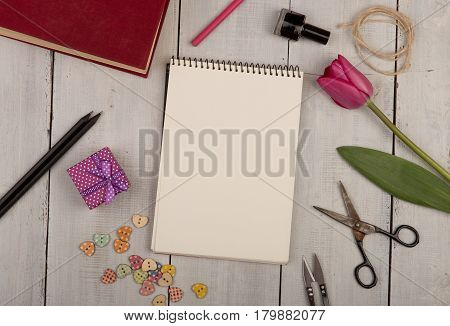 Flower Tulip, Gift Box, Note Pad, Book, Scissors, Nail Polish And Buttons
