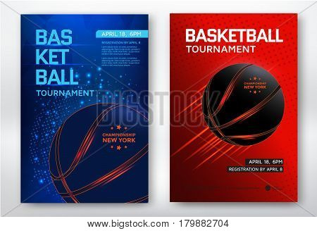 Basketball tournament modern sports posters design. Vector illustration.