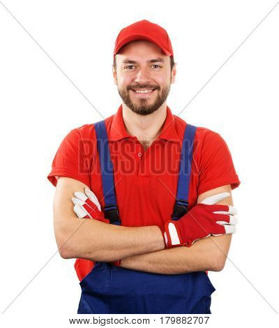 happy smiling handyman isolated on white background