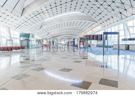 HONGKONG - NOV 20 : Hong Kong International Airport on November 20 2016 in Hong Kong.This airport is main International airport in Hong Kong.It is located on the island of Chek Lap Kok