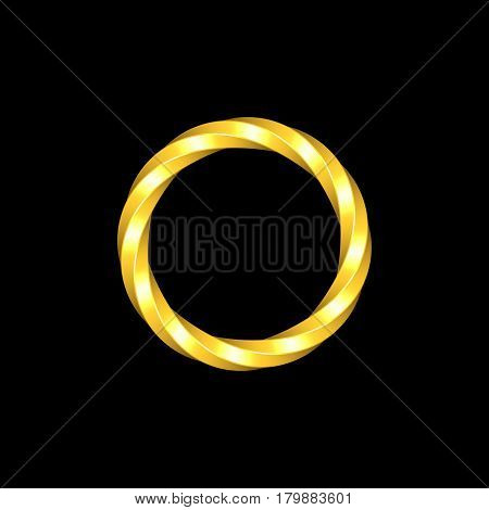 Twisted metallic ring. Isolated on black background. 3D rendering illustration.