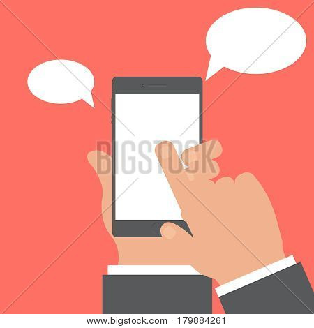 Smartphone and hand vector concept. Phone with hand in modern flat style. Smart technology on red background. Smartphone with chat sing vector illustration. Smart phone flat icon.