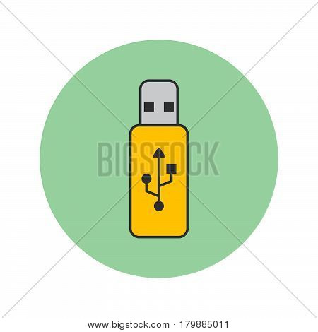 usb stick thin line icon flash memory filled outline vector logo illustration linear colorful pictogram isolated on white