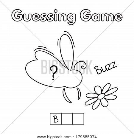 Cartoon bee guessing game. Vector illustration for children education