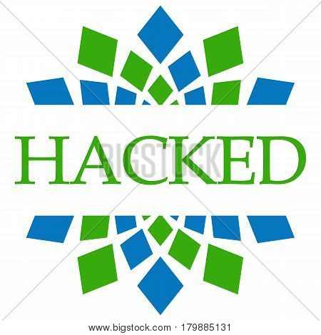 Hacked text alphabets written over green blue background.