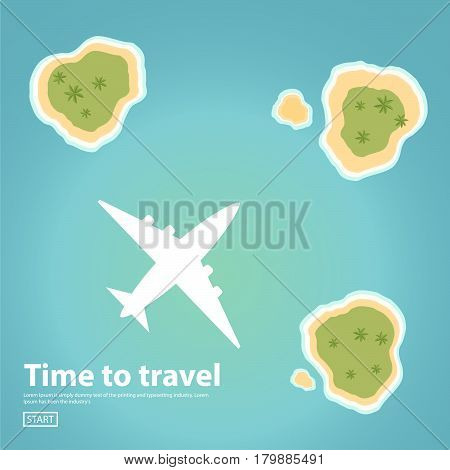 Landscape illustration the island text inscription jet plane sea.Travel,tourism vector illustration in a flat style.travel banner.Water tourism.Summer holidays, vacation.