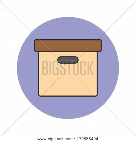Office File Box thin line icon archive filled outline vector logo illustration linear colorful pictogram isolated on white