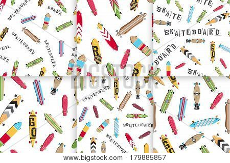 Set seamless pattern with colored design skateboard and longboards. Textures boards for skating which you can use for wrapping paper, packaging, and background.