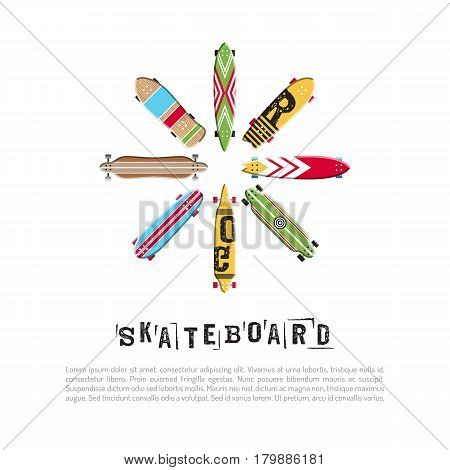 Set vector skateboard and longboard collection. Icon skate in flat style. Banner with a variety of skateboards for store sports equipment, boardshop.