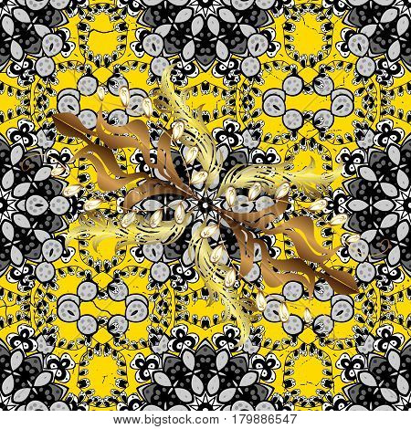 Traditional orient ornament. Classic vintage background. Classic vector golden pattern. Pattern on yellow background with golden elements.