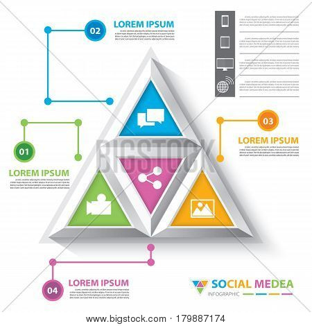 Abstract modern triangle social media infographic template can be used for workflow layout diagram options web design brochure flyer leaflet infographics template. Vector illustration