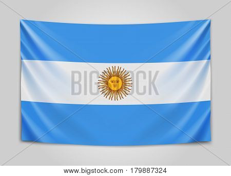 Hanging flag of Argentine. Argentine Republic. National flag concept. Vector illustration.