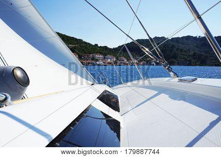 Beautiful, luxury yacht. Traveling, yachting, sailing concept.