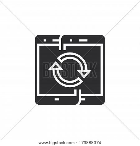 Sync mobile devices icon vector solid logo illustration pictogram isolated on white