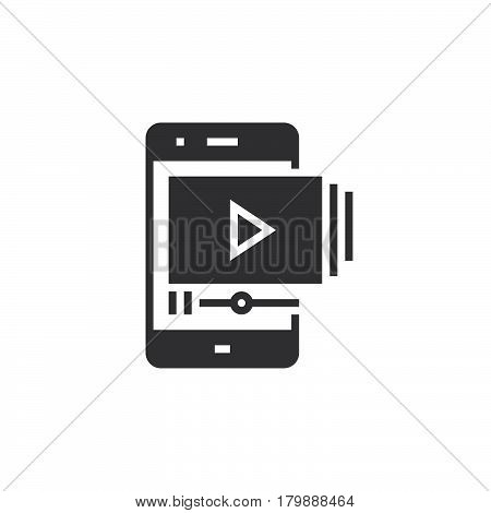 Mobile phone with video player icon vector solid logo illustration pictogram isolated on white