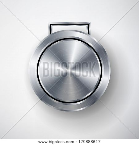 Competition Games Silver Medal Template Vector. Realistic Circle Geometric Badge. Technology Perforated Metal Texture. Chrome, Steel. Sport Ceremony Design Concept Illustration. Silver Button Medal