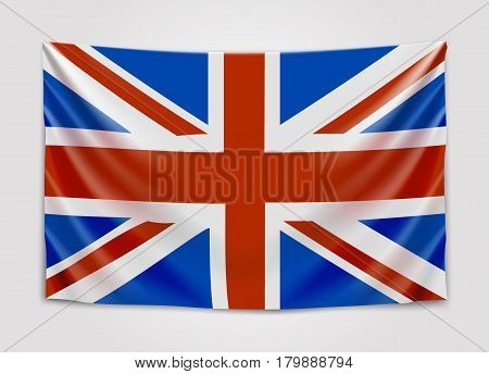 Hanging flag of Great Britain. United Kingdom of Great Britain and Northern Ireland. British national flag concept. Vector illustration.