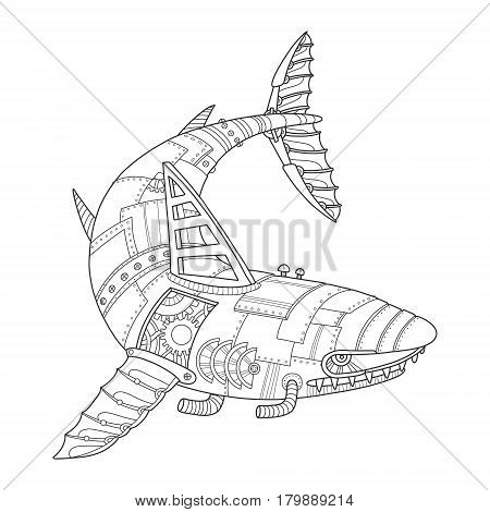 Steam punk style shark. Mechanical animal. Coloring book vector illustration.