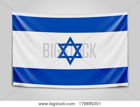 Hanging flag of Israel. State of Israel. Israeli national flag concept. Vector illustration.