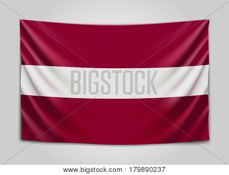Hanging flag of Latvia. Republic of Latvia. Latvian national flag concept. Vector illustration.