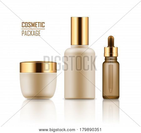 Set of empty realistic package for cosmetic product with gold caps. Blank template of plastic container: jar of cream, serum or essence in vial with dropper. Vector mockup on white background.