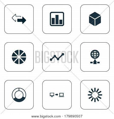 Vector Illustration Set Of Simple Business Icons. Elements Pie Chart, Double Arrow, Hexagon And Other Synonyms Server, Data And Growth.