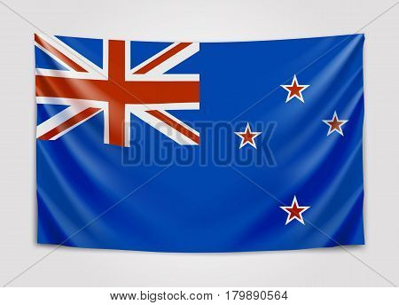 Hanging flag of New Zealand. New Zealand. National flag concept. Vector illustration.