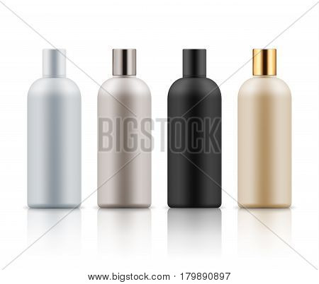 Blank templates of realistic plastic bottles for hair shampoo, milk, gel or body lotion. Container for liquid cosmetic product. White, black, beige and golden package. Illustration isolated on white.