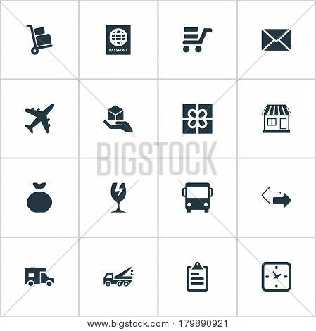 Vector Illustration Set Of Simple Surrender Icons. Elements Hand , Airline, Caravan Synonyms Plane, Cart And Trolley.
