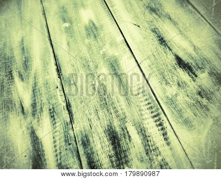 Yellow green old wooden background in perspective
