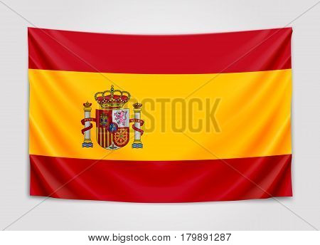 Hanging flag of Spain. Kingdom of Spain. National flag concept. Vector illustration.