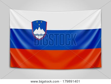 Hanging flag of Slovenia. Republic of Slovenia. National flag concept. Vector illustration.
