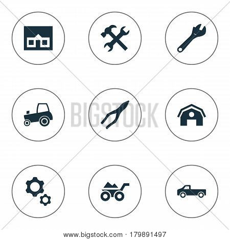 Vector Illustration Set Of Simple Axe Icons. Elements Workshop, Hangar, Clamping Instrument And Other Synonyms Barn, Repair And Clamping.