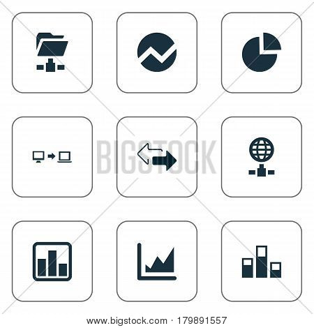 Vector Illustration Set Of Simple Business Icons. Elements Circular Diagram, Digital Documnet, Statistics And Other Synonyms Finance, Diagram And Circular.