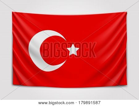Hanging flag of Turkey. Republic of Turkey. National flag concept. Vector illustration.