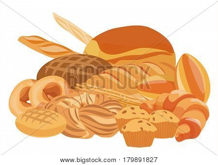 Bakery and pastry products set together. Bread, cupcakes, dough and cakes for bakery shop. Bakery food design