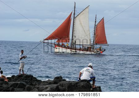 Boat Sailing On The Coast Of Saint Paul On La Reunion