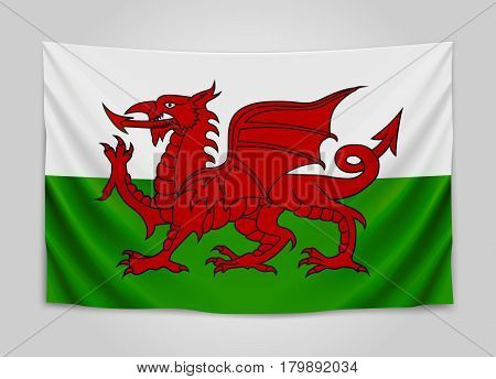 Hanging flag of Wales. Wales. National flag concept. Vector illustration