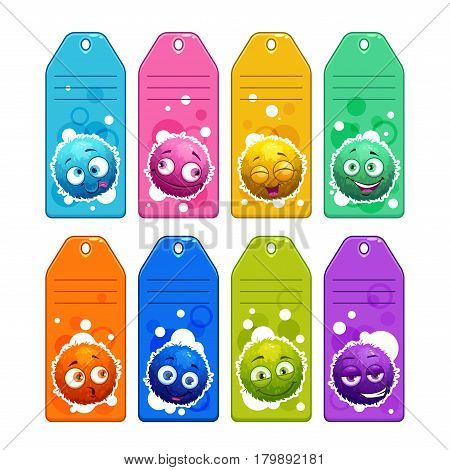 Colorful kids name tags with funny cartoon round fuzzy characters. Vector icons set, isolated on white