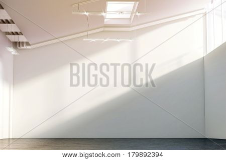 Blank white large wall mockup in sunny modern hangar hall 3d rendering. Clear big loft mock up in museum with contemporary art exhibition. Huge gallery interior with plain surface for exposition.